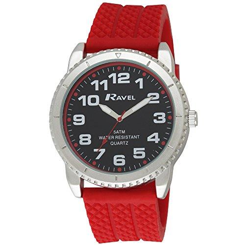 para Hombre Ravel 5ATM Reloj Infantil de Cuarzo con Esfera analógica y Rojo Correa de Silicona r5-20, 10G