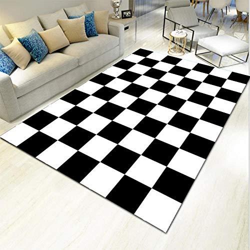 Wohnzimmer Teppich Pastell Farben - Karo Tisch Teppich schwarz und weiß Karierte Kombination Moderne minimalistische Nähte Mode Anti-Fading-160 x 230 cm