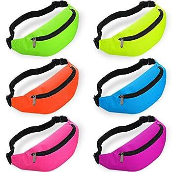 6 Pieces Neon Bachelorette Fanny Pack Set 80s Party Waist Bag Adjustable Waist  Purple Blue Green Rose Orange Yellow