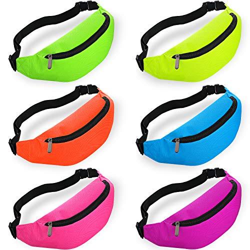 6 Pieces Neon Colored Fanny / Waist Pack Set