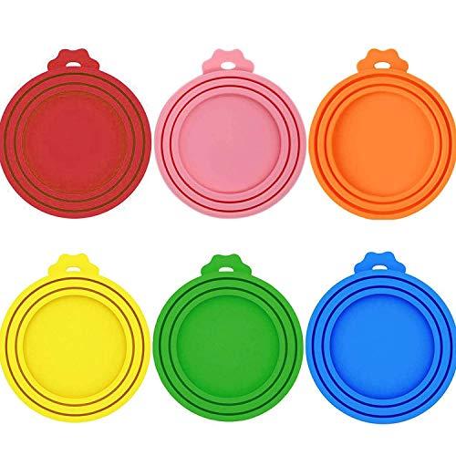 WENTS Silikon-Deckel für Dosenfutter 6PCS Silikon-Abdeckung für Hunde- und Katzenfutter Passt auf Fast alle Futterdosen 6 Farben