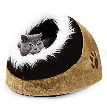 Todeco - Grotte pour Animaux en Peluche, Maison pour Chat - Matériau: Peluche - Accessoires: (1x) Coussin Amovible - 48 x 43 x 32 cm, Marron