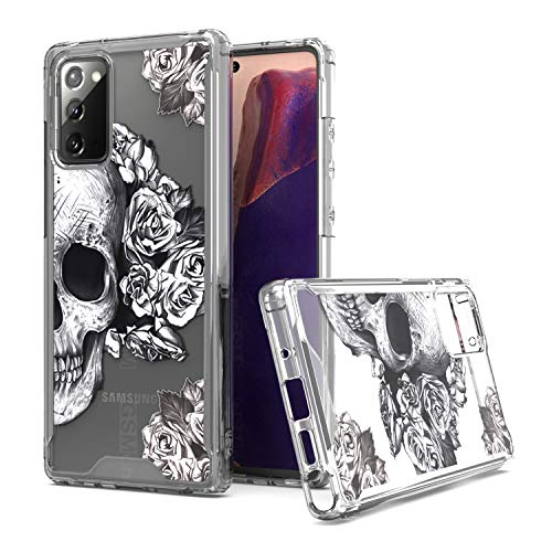 KWEICASE Cell Phone Case for Samsung Galaxy Note 20, Clear Acrylic Backing with Cool Skull Flowers Design, Slim Fit TPU Hybrid Shockproof Protective Cover