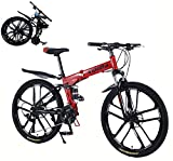 Plegable Bicicleta de montaña Hombres 26in Bicicleta de ciclocross Estructura de Acero al Carbono Ligero 27 velocidades Sistema de Plegado rápido La elección Amantes del Ciclismo/Red