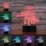 Stegosaurida Stegosaurus Lámpara 3D Ilusión Luz nocturna Bombilla LED USB Multicolor Juguete para niños Regalos para n cama Deocr
