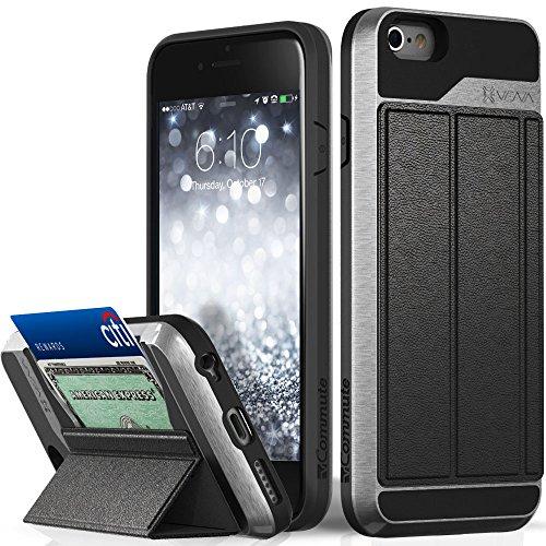 VENA[vCommuteFür Apple iPhone 6S Panzer Hybrid Schutz-Hülle[Outdoor Hard-Case|STOSSFEST|Leder|MAGNETISCH|Kickstand][Wallet Karten-Fach Etui/Back-Cover][EXTREMER MILITÄR FALLSCHUTZ Bumper]