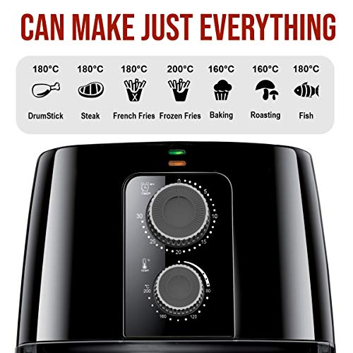 Inalsa Air Fryer 4L Nutri Fry - 1400W with Smart Rapid Air Technology, Timer Selection And Fully Adjustable Temperature Control, (Black)