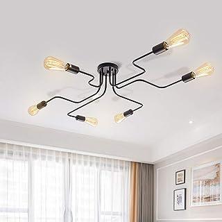 EDISLIVE 6 luces Iluminación de techo Lámparas de araña Industrial Iluminación de techo de interior Iluminación colgante para dormitorio, sala de estar, cafetería (negro-6 luces)