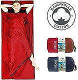MIQIO 2 en 1 forro de algodón para saco de dormir y ligero tamaño XL para cama doble de viaje, color Rojo, cremallera izquierda, tamaño open: