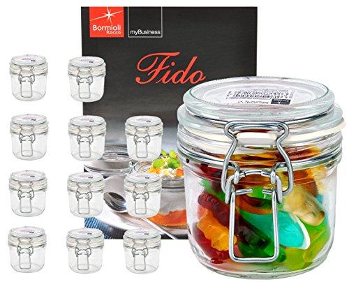Bormioli Rocco 12er Set Drahtbügelglas FIDO, 200 ml, Einmachglas mit Bügelverschluss, inkl. Rezeptheft