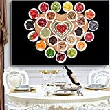 SADHAF Cuadro de pintura de lienzo de cocina de frutas y verduras Cartel escandinavo mural de alimentos decoración del hogar A4 60x80 cm