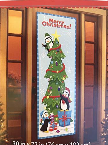 Christmas Door Cover Santa Hanging Lights, Christmas Present, Santa & Elves (Penguins Decorating Tree)