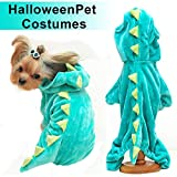 Halloween Costume for Pet Dog Cat Dinosaur Plush Hoodies Animal Fleece Jacket Coat Warm Outfits Clothes for Small Medium Dogs Cats Halloween Cosplay Apparel Accessories (X-Large, Green)