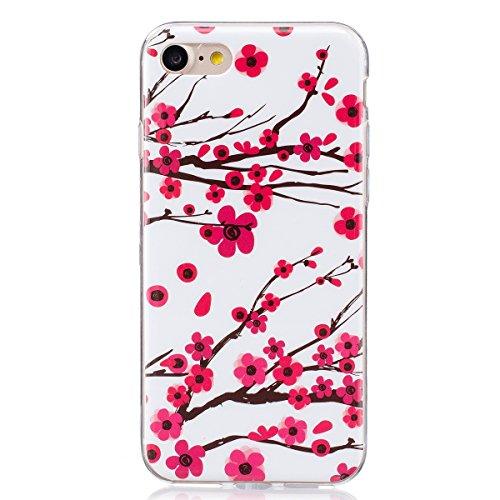 ISAKEN Compatibile con iPhone 7 /iPhone 8 Custodia, Agganciabile Luminosa Cover Case con Lampeggiante Ultra Sottile Morbido TPU Cover Rigida Gel Silicone Protettivo Custodia - Fiori Rosa