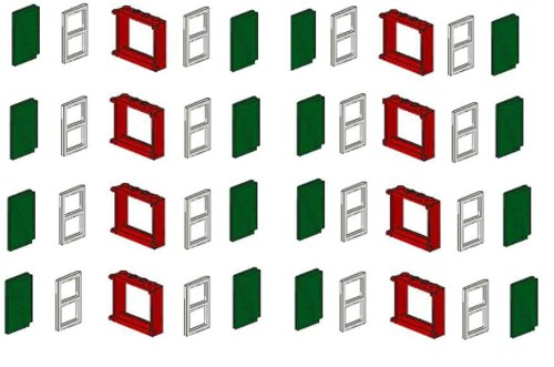 Lego vetri di Finestra Cornice 40Pezzi, 8Rosso ,16Bianco e tapparelle 16Verde, 40Pezzi