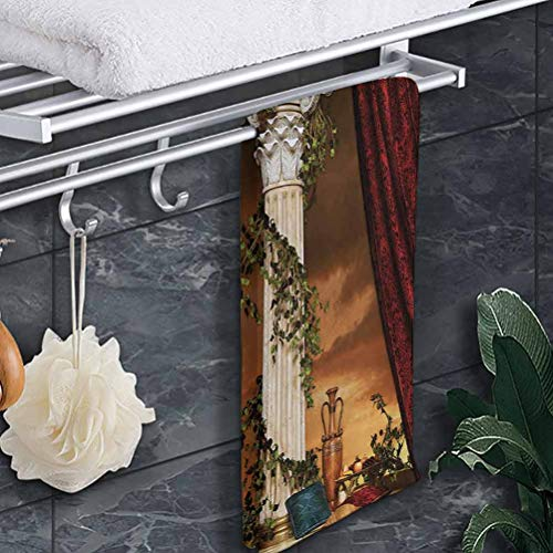 Quick-Dry Bath Towel Gothic Sand Free Pool Towel Greek Style Scene Climber Pillow Fruits Vine and Red Curtain Ancient Figure Sunset for Bathroom Spa Gym Sports Multicolor 8'x24'