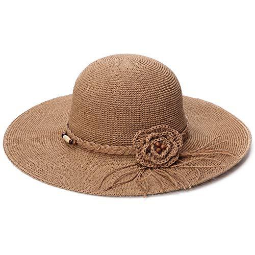 SIGGI SIGGI Stroh Sommerhut mit Sonnen Shade für Damen schlaffer Strand Sonnenhut Breite Krempe, 89035_Beige, Einheitsgröße
