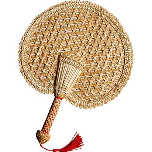 Ventilador plegable de estilo chino Ventilador de trigo de la paja, tejida a mano del ventilador pasado de moda grande, Hombre Banana Fan, Mujer de paja, Verano Estilo portátil clásico chino pequeño v