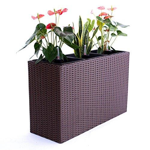 Pflanztopf Blumentopf Pflanzkasten Blumenkasten Polyrattan Rechteck LxBxH 82x30x50cm braun