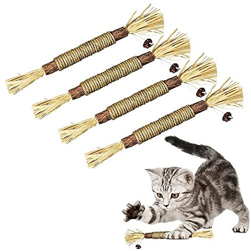 HONGBOZHIXUAN Juguetes con Hierba Gatera para Gatos 4 Piezas,Sticks para Gatos,Palitos de Catnip para Gatos,Palitos de Hierba Gatera,Catnip Toys,Juguetes para Gatos Morder,Catnip para Gatos Hierba