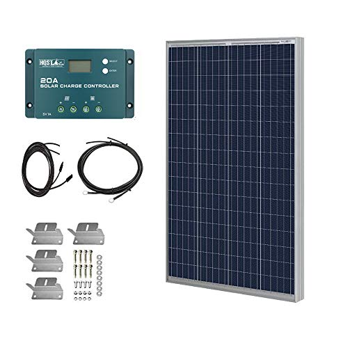 HQST 100 Watt 12 Volt Polycrystalline Solar Panel Kit with 20A PWM Charge Controller, Z Bracket, 20FT 12AWG Cable,8Ft 10AWG Tray Cable