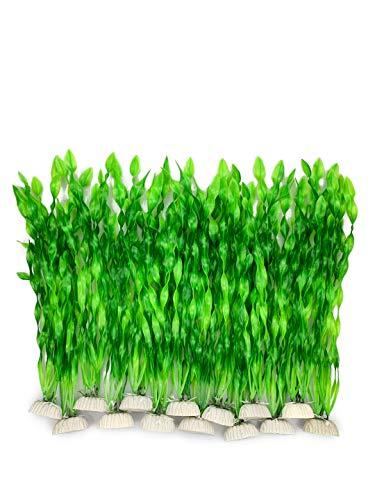 Aquarium-Dekoration, 14 Stück künstliche grüne Wasserpflanzen Seetang aus Kunststoff, für alle Fische und Haustiere