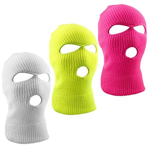 WXJ13 3 Colors 3-Hole Full Face Cover Soft Winter Balaclava Warm Knit Ski Mask, Men & Women Outdoor Sports Knit Full Face Mask