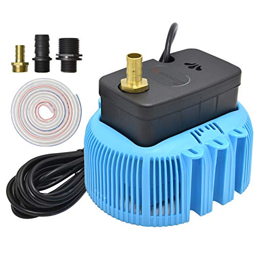 Pool Cover Pump Above Ground Sump Pumps 850GPH Water Removal With 3 Adapters 16ft Drainage Hose (Blue)