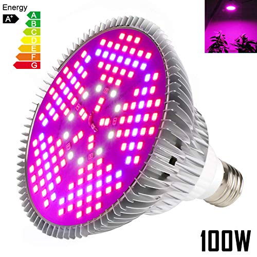 100W Led Grow Light Bulb Full Spectrum,Plant Light Bulb with 150 Leds for Indoor Plants, E26/E27 Socket,Grow Lamp for Indoor Garden Greenhouse
