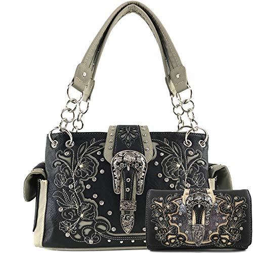 Zelris Western Floral Blossom Buckle Women Conceal Carry Handbag Wallet Set (Black/Gray)