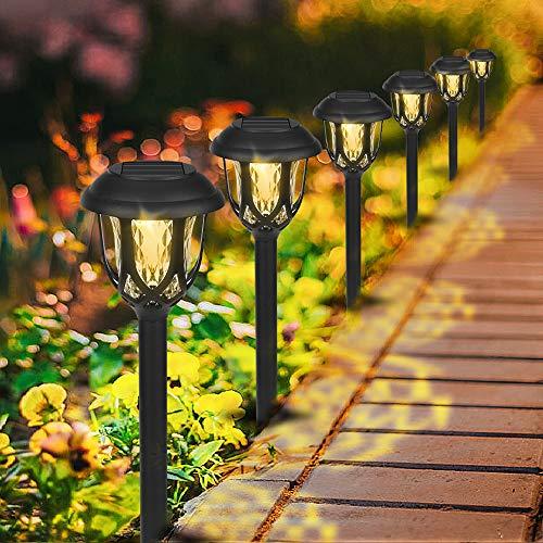 Solarleuchte Garten Sylanda 6 Stücke Solar Gartenleuchte Außenleuchte Wasserdichte LED Solar Licht warmweiße Dekoration Licht Solarlampe Stake Wegbeleuchtung für Außen Villa Rasen [Energieklasse A]