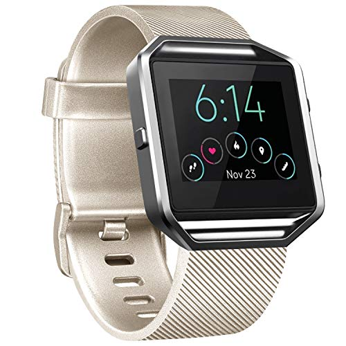 Vancle Replacement Strap compatible with Fitbit Blaze, Not Included Fitbit Blaze and Frame (Champagne, L)