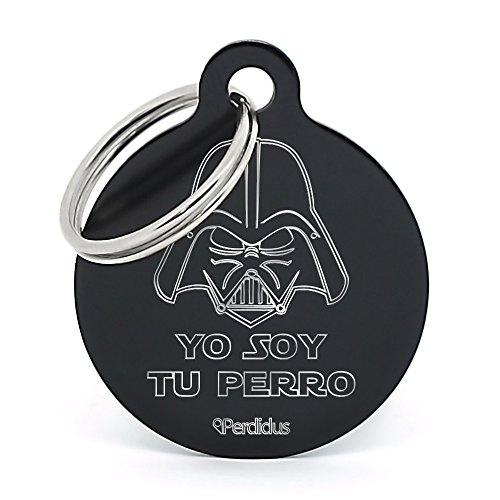 PERDIDUS Placa Identificativa para Perro 'Yo Soy tu Perro', Grabado del Nombre y Teléfonos, Negro