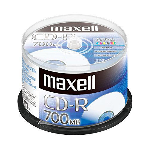 スマートマットライト maxell データ用 (1回記録用) CD-R 700MB 48倍速対応 インクジェットプリンタ対応ホワイト(ノンワイド印刷) 50枚 スピンドルケース入 CDR700S.PNW.50SPZ