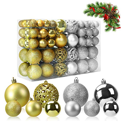 Coindivi Plastic Christmas Balls Ornaments, Gold & Silver Shatterproof Christmas Tree Balls with Varied Sizes & Colors, 100pcs Hanging Decorations Balls for Festival Celebration, Dinner Party