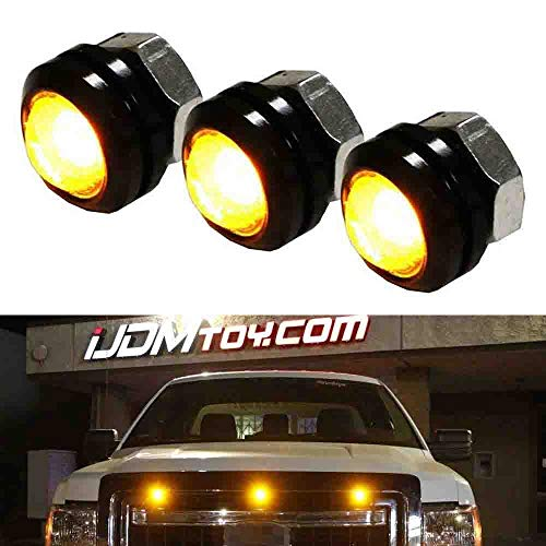 iJDMTOY 3pc Raptor Style Amber Yellow LED Bolt-On Mount Grille Marker Light Kit, Universal Fit Truck or SUV Front Grill, Powered By High Power 3000K Amber Color LED Diodes w/Projector Lens