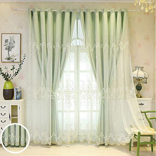 Cortinas de ventana de doble capa,Cortina opaca de gasa transparente con bordado de encaje,Cortina de doble piso/con aislamiento térmico para la vida del dormitorio,Cenefa de cortina de ventan