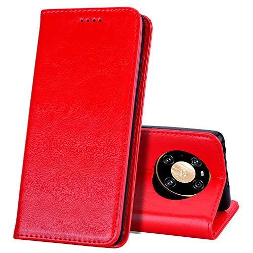 EATCYE Kompatibel mit Huawei Mate 40 Pro Hülle, [Echtleder] Handyhülle [Extra Dünn] Brieftasche flip Lederhülle Schutzhülle [Versteckt Magnet] Premium Design Echt Leder Brieftasche (Rot)