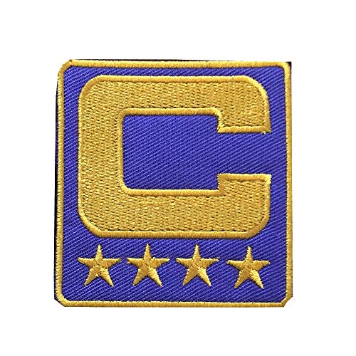 Yibuoo Captain C Patch Embroidered Iron on Patch(4 Gold Stars) Sewing On for Jersey Football, Baseball. Soccer, Hockey Jersey (Purple)