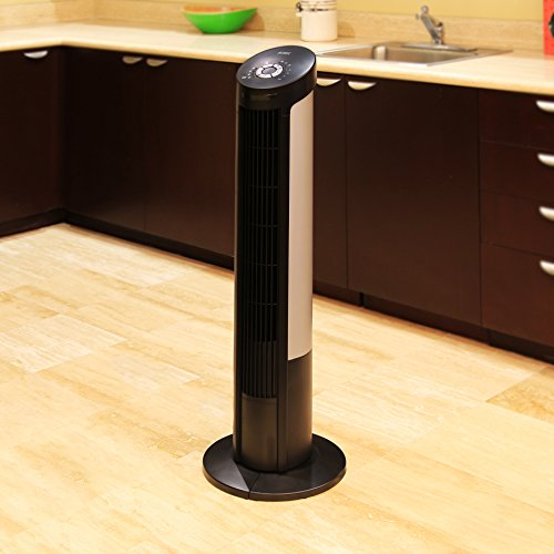 Seville Classics UltraSlimline 40 in. Oscillating Tower Fan with Steel Intake Grill, Black
