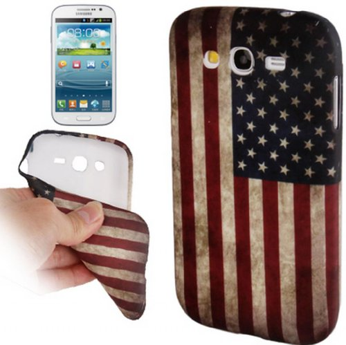 Digital Bay Srl Custodia Cover Retro USA Flag in TPU Morbido e Anti Scivolo di Prima qualità per Samsung Galaxy Grand Duos / i9082