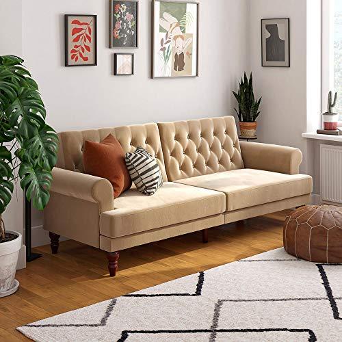 Novogratz 2342379N Upholstered Cassidy, Convertible Couch, Ivory Velvet Futon