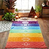ZALE - Esterilla de yoga útil, diseño de rayas arcoíris bohemia para colgar en la pared, diseño de mandalas indias, para yoga de 7 chakras, para toalla de playa, esterilla de yoga, tamaño Multi