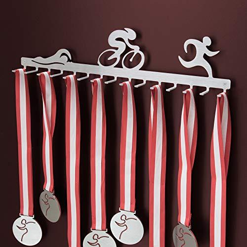 Colgador con ganchos para medallas de triatlón