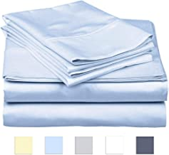 SanCozy 400 Thread Count Sheet Set 4 Piece Set Cotton Sateen Weave Bedsheet Breathable Fits up to 18 inches deep mattresses by California King Blue