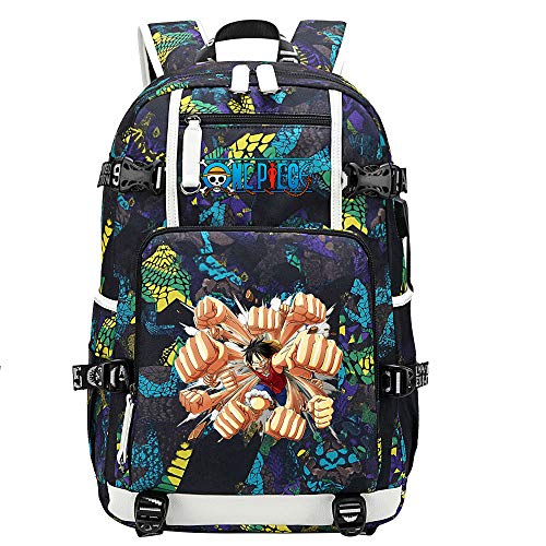ZZGOO-LL One Piece Monkey·D·Luffy/Roronoa Zoro Anime Backpack Middle Student School Rucksack Daypack for Women/Men with USB-E