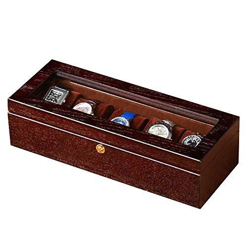 XHLLX 5 Slots Watch Box Cherry Watch Mostrar Caja Organizador De Almacenamiento Top De Vidrio Grande