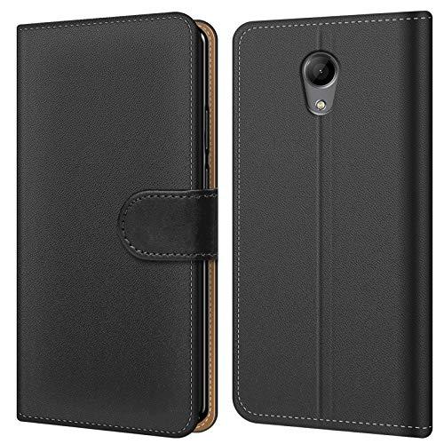 Conie BW45167 Basic Wallet Kompatibel mit Wiko Robby, Booklet PU Leder Hülle Tasche mit Kartenfächer & Aufstellfunktion für Robby Case Schwarz