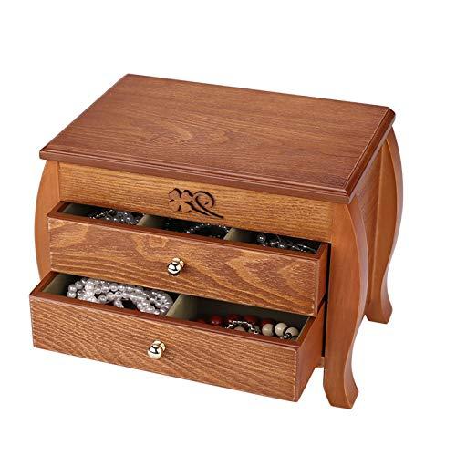 WERCHW Caja de Almacenamiento de Joyas, Regalos para su niña Caja de joyería de joyería Organizador de Madera Mostrar Caja de Almacenamiento Espejo para Anillos Pendientes Collar