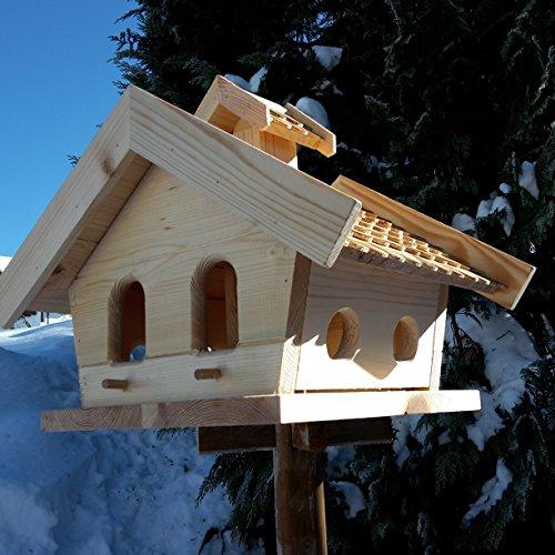 Vogelhaus-XXL mit Holzschindeln und Putzklappe lasiert Vogelhäuser-Vogelfutterhaus großes Vogelhäuschen-aus Holz Wetterschutz (Natur) - 3